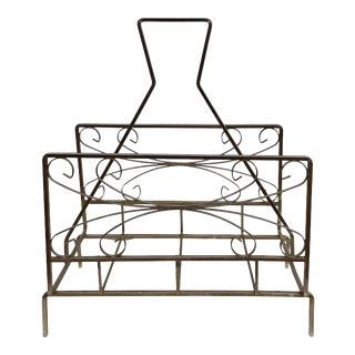 Vintage Stainless Steel Magazine Rack For Sale