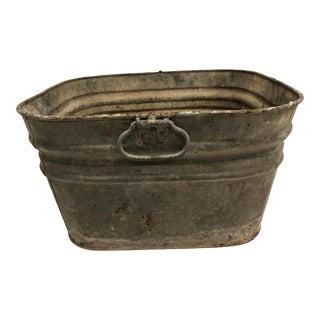 Vintage Rustic Galvanized Metal Square Wash Tub For Sale