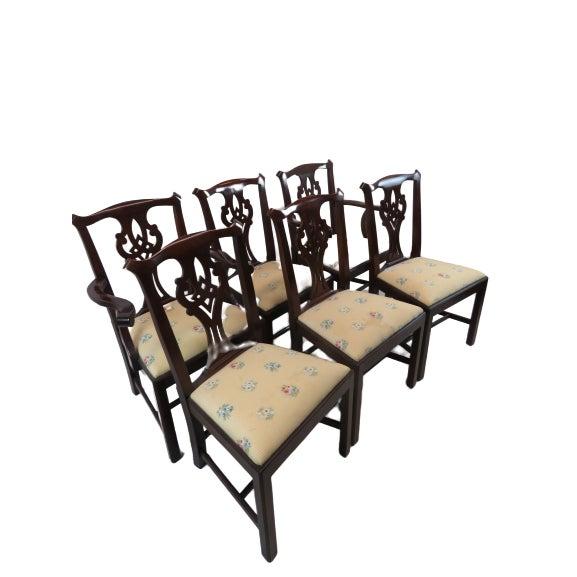Henkel Harris Henkel Harris Chippendale Dining Mahogany Chairs Model 101 - Set of 6 For Sale - Image 4 of 13