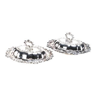 Elegant Silver Plated Serving Dishes - a Pair