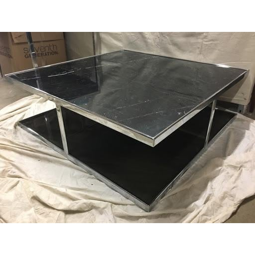 Marble And Chrome Coffee Table: Black Marble & Chrome 'Huber' Coffee Table By Rodolfo