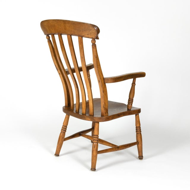 English Elm Vertical Slat Back Armchair Circa 1890 With Turned Legs and H-Stretcher For Sale In San Francisco - Image 6 of 13