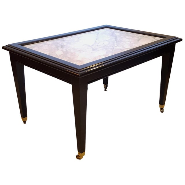 Ebonized Marble Top Coffee Table Cocktail Table On Wheels Manner
