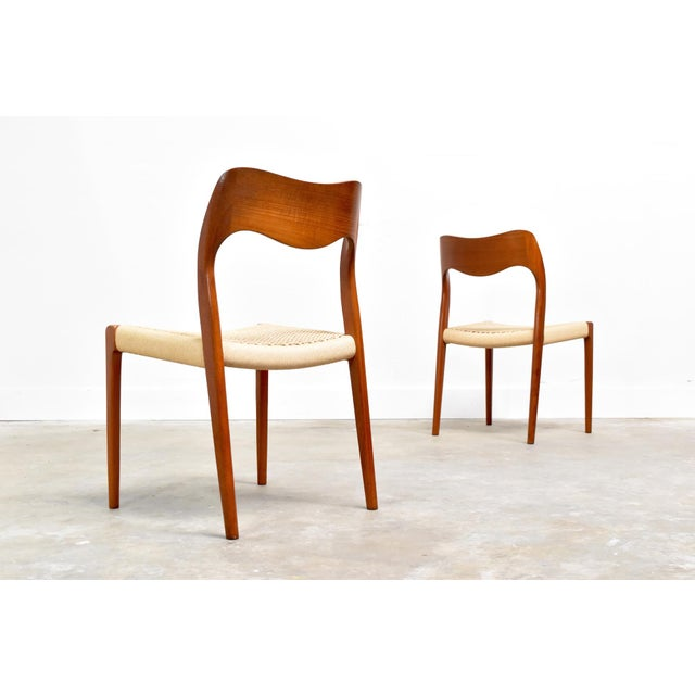 Orange j.l. Møller Model 71/55 Teak & Danish Cord Dining Chairs - Set of 8 For Sale - Image 8 of 13