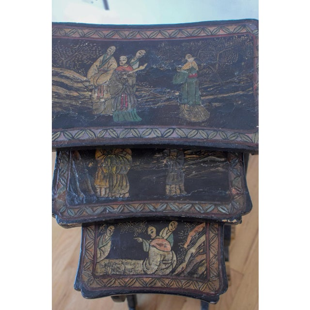 20th Century Asian Handprinted Stacking Tables - Set of 3 For Sale - Image 9 of 12