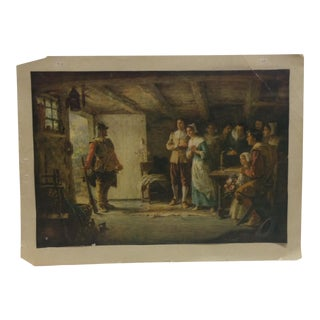 """Mounted, Vintage Color Print, """"At the Door"""" For Sale"""