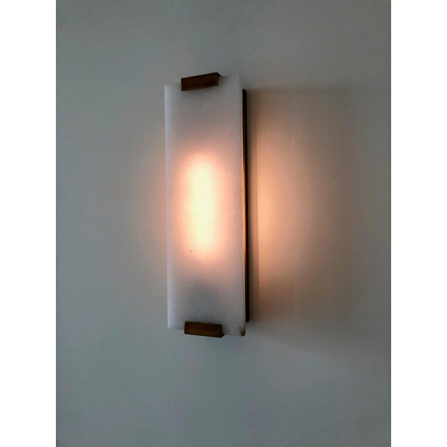 "Restoration Hardware, Hand-Carved Alabaster Sconce 18"" - a Pair For Sale In New York - Image 6 of 7"
