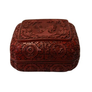 Chinese Red Resin Square Floral Kirin Carving Accent Box For Sale