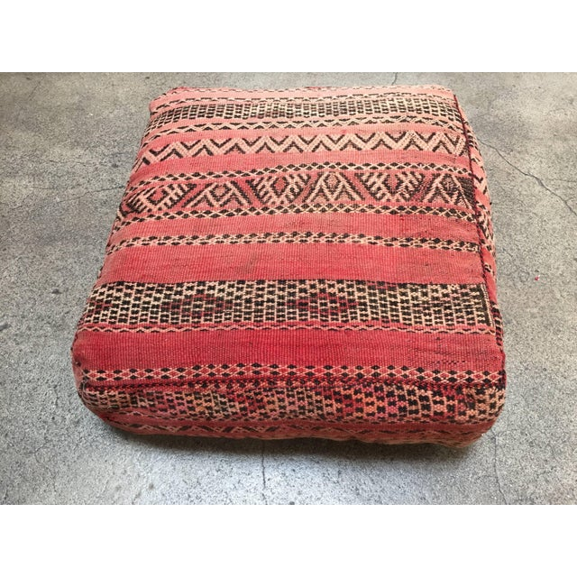 Moroccan Floor Pillow Tribal Seat Cushion Made From a Vintage Berber Rug For Sale - Image 13 of 13