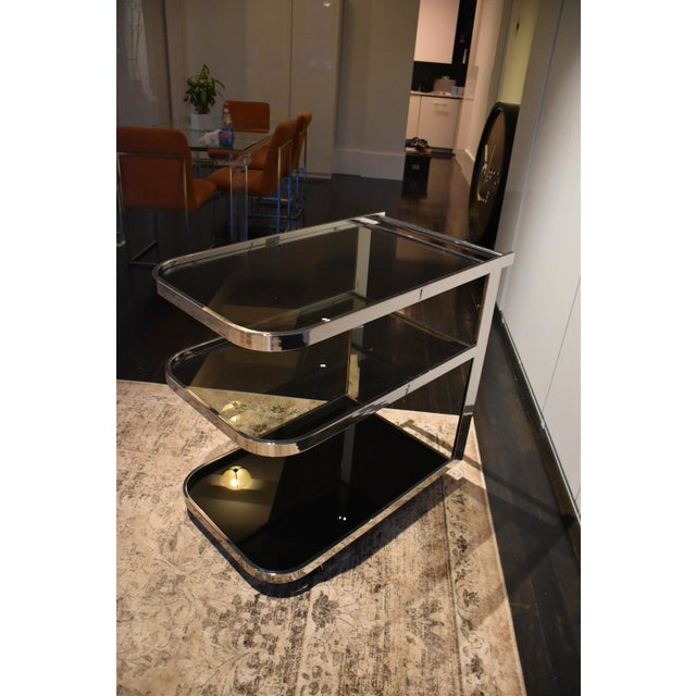 1970s 1970s Vintage Glass & Chrome Bar Cart For Sale - Image 5 of 6