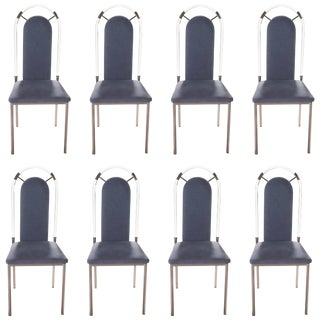 Set of Eight Chairs Plexiglass and Gunmetal by Maison Jansen, 1970s For Sale