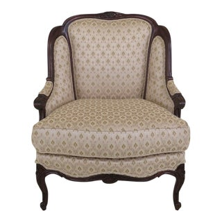 1990s Vintage Drexel Heritage French Louis XV Style Upholstered Chair For Sale