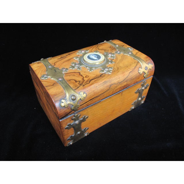 19th Century Antique Coromandel Ebony & Wedgwood Basaltware Sewing Box For Sale In Portland, OR - Image 6 of 7