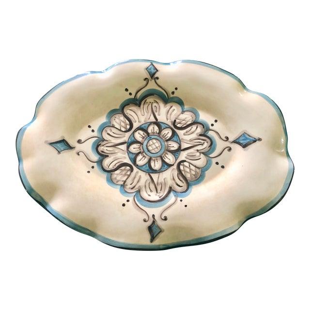 Italian Blue and Cream Porcelain Platter For Sale