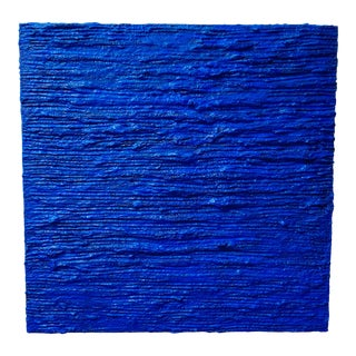 """Cobalt Blue Acrylic Mixed Media Panting, """"Dive In"""" For Sale"""