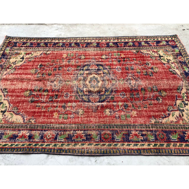 1960s 1960s Vintage Turkish Oushak Handmade Carpet - 5′10″ × 9′1″ For Sale - Image 5 of 10