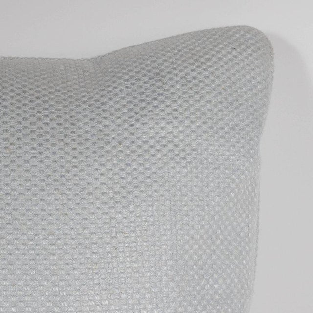 Pair of Square Pillows in Patterned White Gold Italian Handwoven Silk For Sale - Image 4 of 6