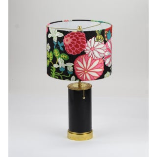 Black High Gloss Table Lamp With Floral Schumacher Chiang Mai Lampshade Preview