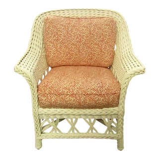 Vintage White Wicker Side Chair