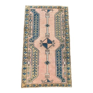 """Petite Turkish Pink & Blue Rug - 1'8"""" X 2'11"""" For Sale"""