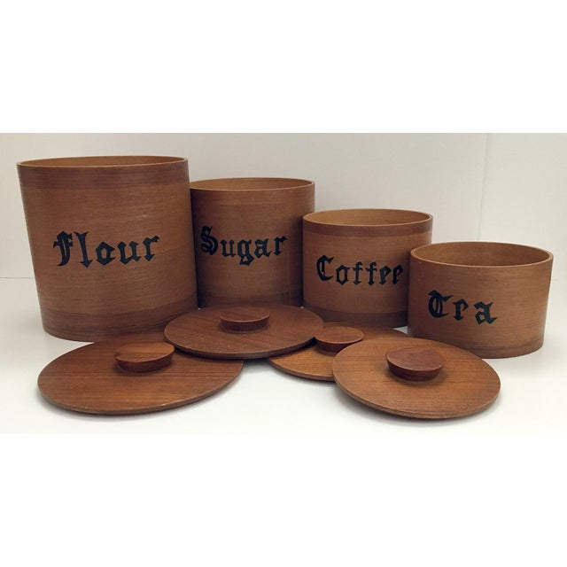 """Wooden Danish Modern nesting canister set. Flour container 7""""tall x 6.75""""wide without lid, Sugar container 5.75""""tall x..."""
