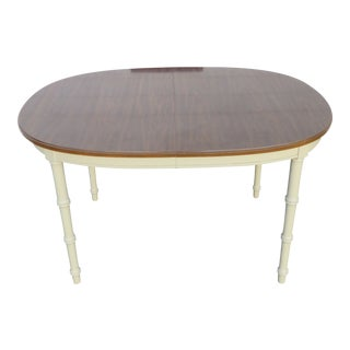 Hollywood Regency Faux Bamboo Painted Dining Table For Sale