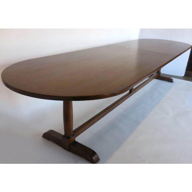 Dos Gallos Custom Oval Wine Tasting Table in Walnut For Sale - Image 4 of 8