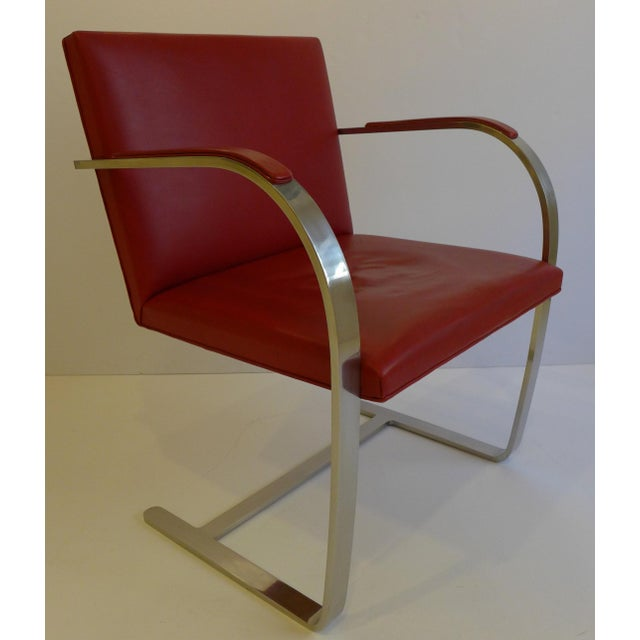 1970s Vintage Pair of Knoll Brno Chairs in Red Leather For Sale - Image 5 of 9