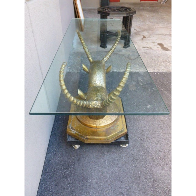 70's Bronze & Zinc Antelope Head Console Table Base For Sale - Image 11 of 12