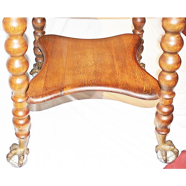 Late 19th Century 19th Century Americana Tiger Oak Claw-Foot Side Table For Sale - Image 5 of 13