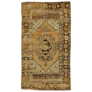 Vintage Mid-Century Turkish Oushak Accent Rug - 2′11″ × 5′5″ For Sale