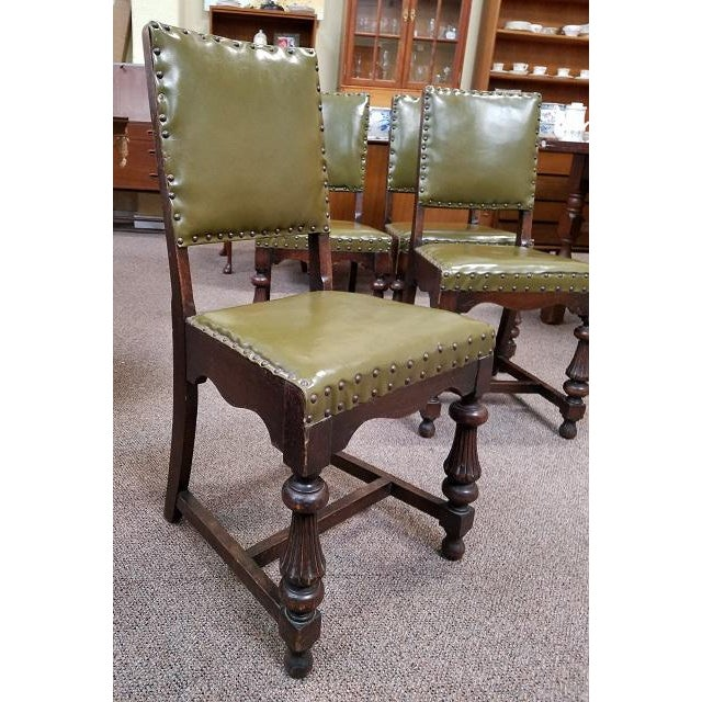 Arts & Crafts 1920s Vintage Oak Dining Chairs w/ Green Leather Seats - Set of 4 For Sale - Image 3 of 4