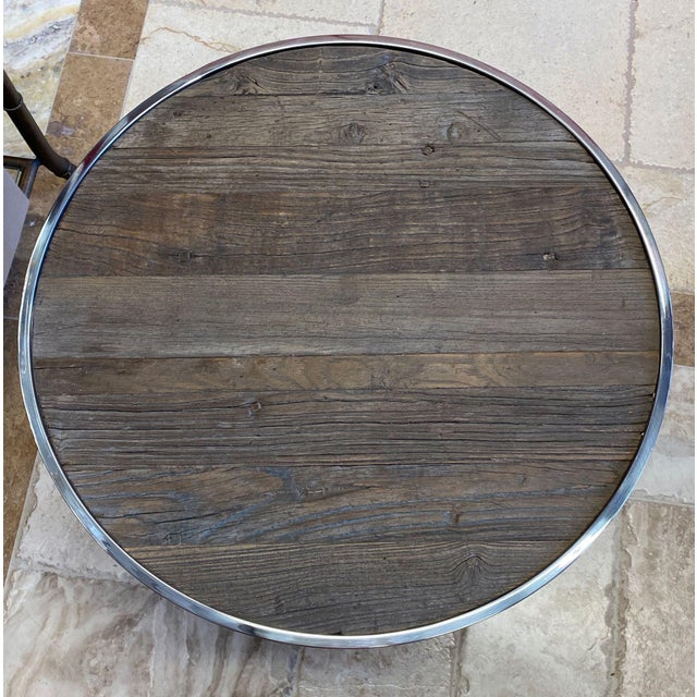Metal Reclaimed Wood and Polished Chrome Accent Table For Sale - Image 7 of 10