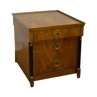 Baker French Empire Biedermeier Walnut Low Single File Cabinet W/ Top Drawer