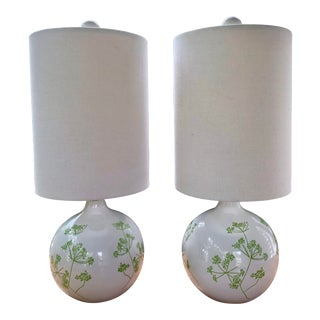 1960s Vintage White and Green Floral Lamps & Drum Shades - a Pair For Sale
