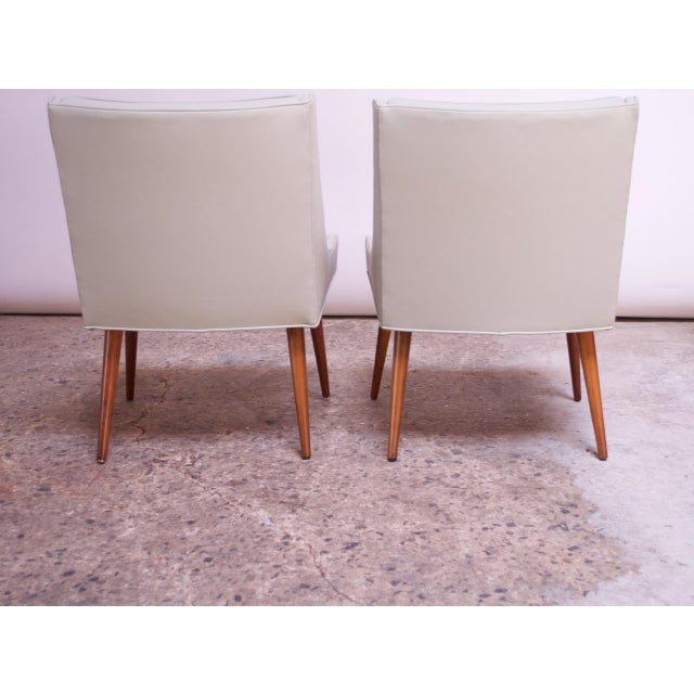White Vintage Walnut and Leather Slipper Chairs by Milo Baughman - a Pair For Sale - Image 8 of 13