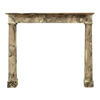 Unique Little Antique Empire Mantel in Beautiful Breche Marble For Sale