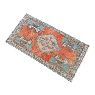 Hand Knotted Door Mat, Entryway Rug, Bath Mat, Kitchen Decor, Small Rug, Turkish Rug - 1′7″ × 3′1″ For Sale