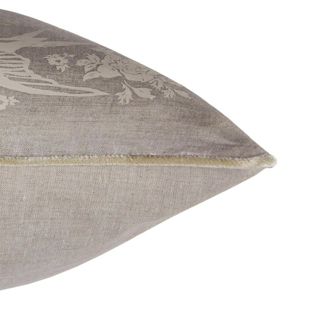 French Metallic Linen Swallow Garden Pillow For Sale - Image 3 of 4