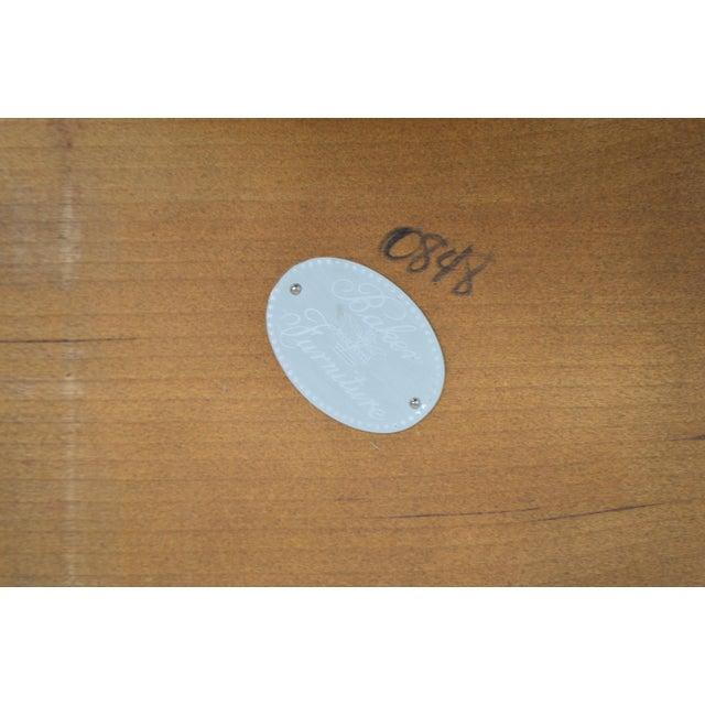Hollywood Regency Baker Vintage Burl Wood & Walnut Demilune Console Table For Sale - Image 3 of 13
