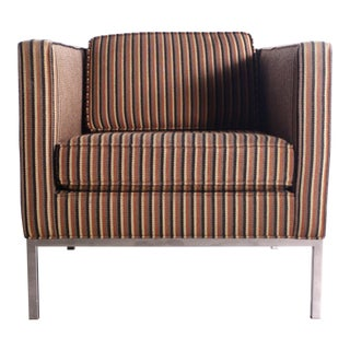 Rare Axel Roffman Chair in Original Upholstery With a Chrome Base For Sale