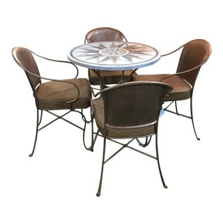 Iron and Marble Cafe Indoor/Outdoor Cafe Set For Sale
