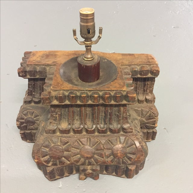 Antique Hand Carved Column Lamp - Image 2 of 11