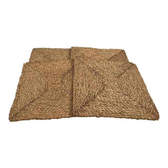Vintage Woven Straw Placemats- Set of 4 For Sale