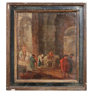 18th Century Italian Oil Painting on Wood Panel With Frame For Sale