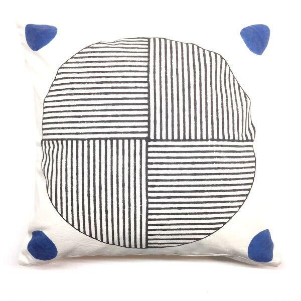 Contemporary Contemporary Kala Gola Black and White Cotton Pillow For Sale - Image 3 of 3