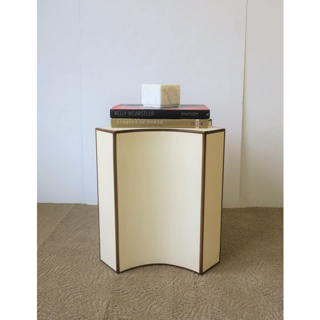 Wood Contemporary Shagreen Esque Side Table For Sale - Image 7 of 10