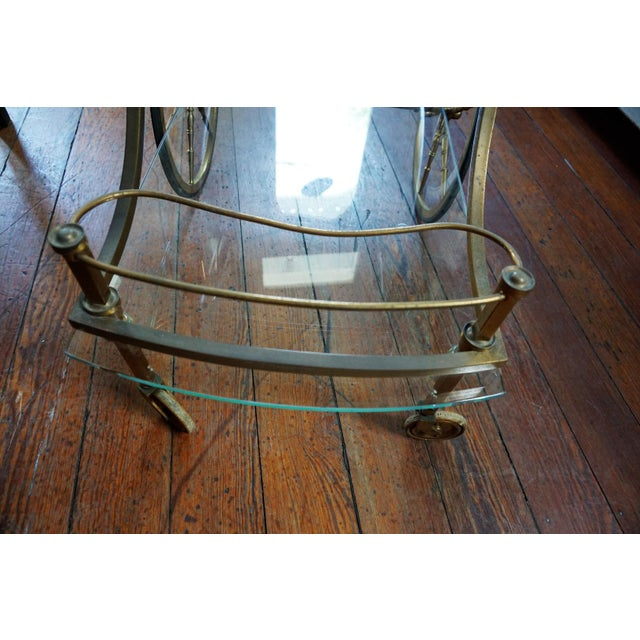 Brass French Brass and Glass Service Table For Sale - Image 7 of 10