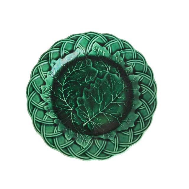 Green Majolica Cabbage Plate W/ Woven Border For Sale