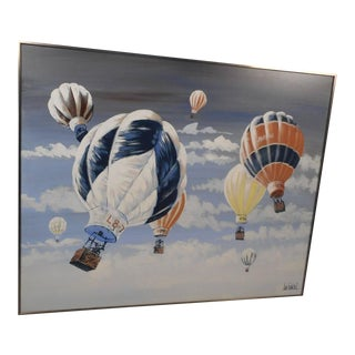 Mid-Century Modern Hot Air Balloon Oil Painting For Sale
